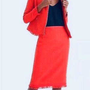 J CREW • Poppy Red Tweed Pencil Midi Skirt